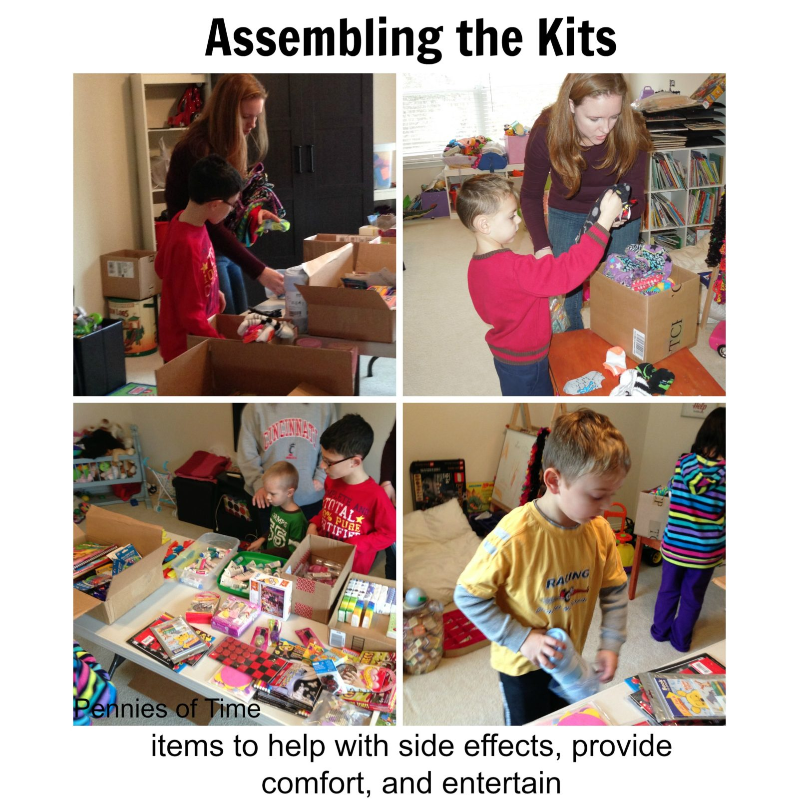 Kids put together chemo care kit for kids.