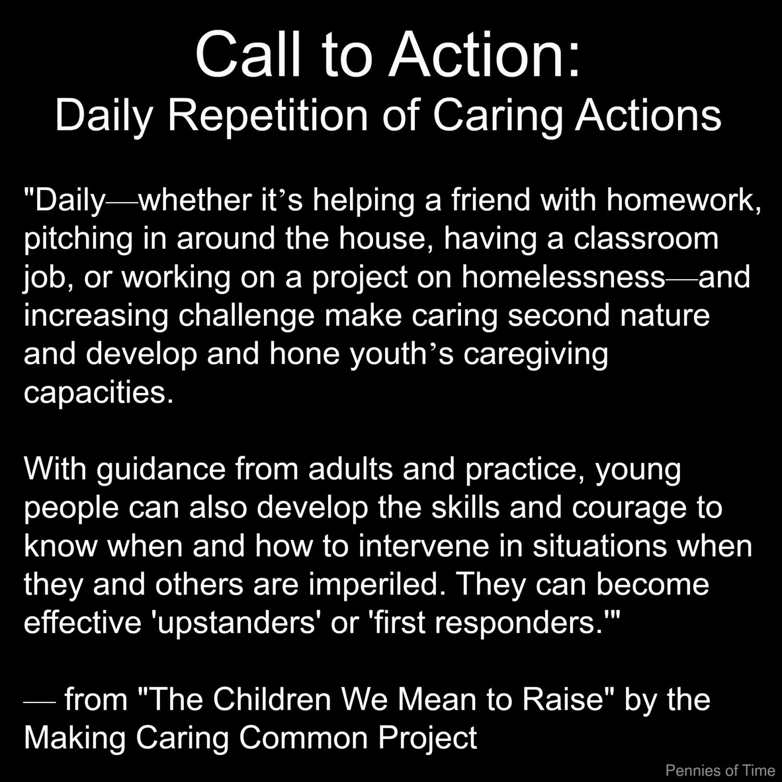 Making Meaning Common Project Call to Action The Children We Main to Raise