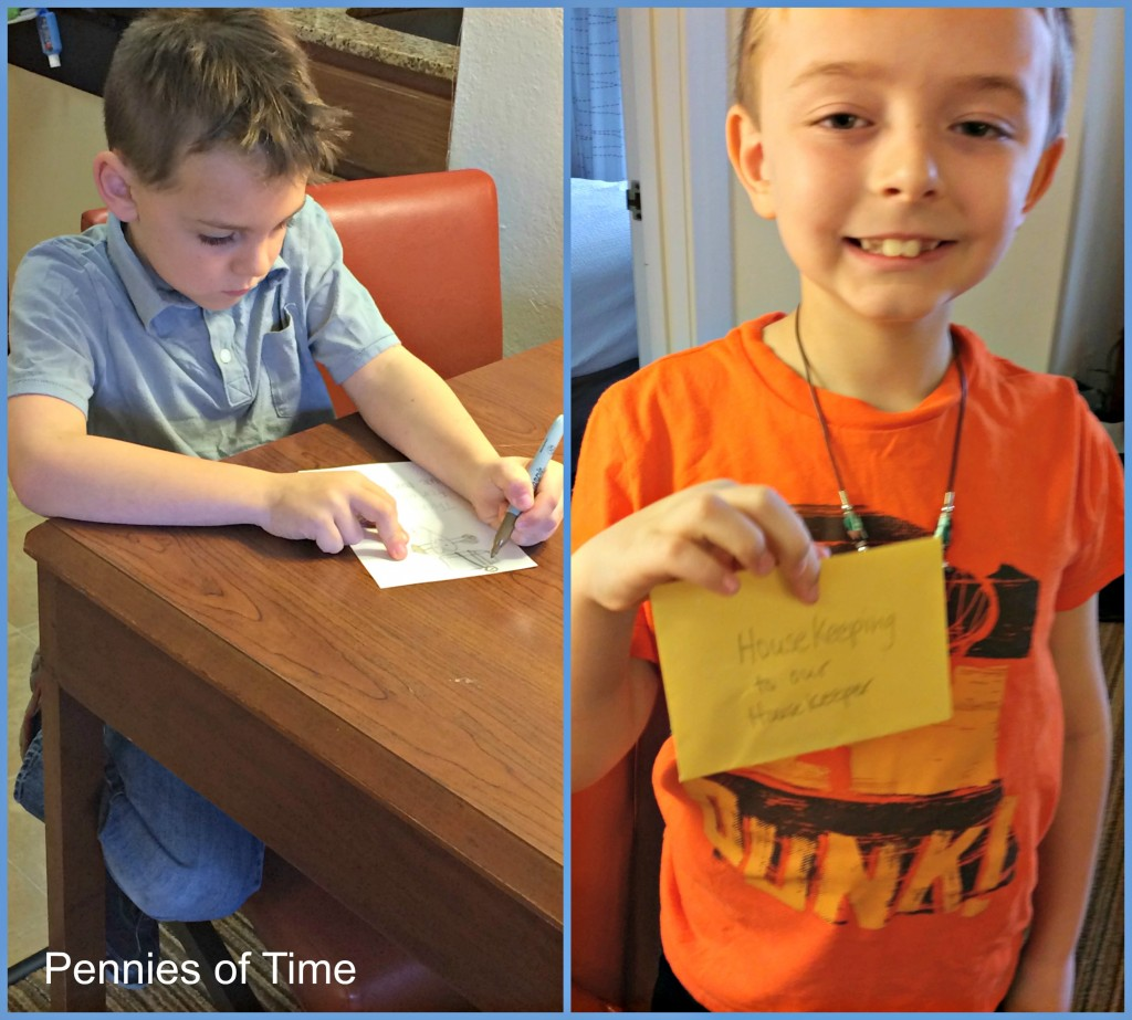 Note for our Housekeeper Acts of Kindness Hotel Pennies of Time Kindness Quest